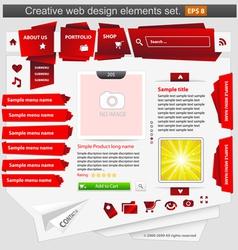 creative web design elements set red vector image vector image