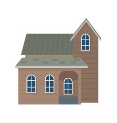 traditional wooden house swiss architecture style vector image
