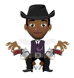Black man with hat and gun cartoon character vector image vector image