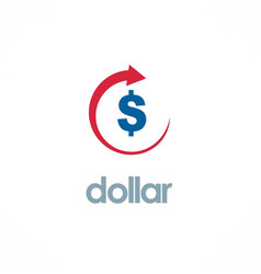 dollar up business logo vector image vector image