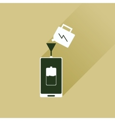 Flat icon with long shadow charging mobile phone vector