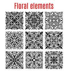 floral borders and ornate elements vector image vector image