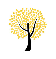 ornamental tree with golden leaves vector image