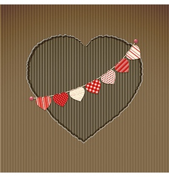 Valentine heart cardboard cut out with bunting vector image vector image