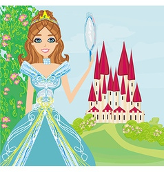 beautiful princess with mirror in her hands vector image vector image
