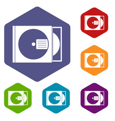 cd box with disc icons set hexagon vector image vector image