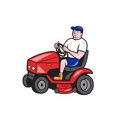 Gardener Mowing Rideon Lawn Mower Cartoon vector image