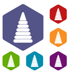 Pyramid built from plastic rings icons set hexagon vector