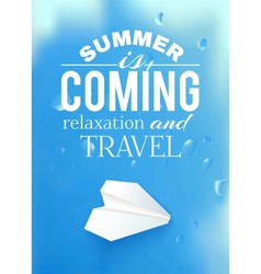 Summer sky with airplane and text lettering vector image