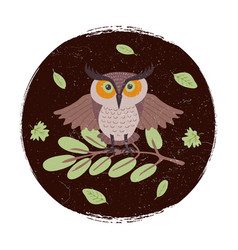 wild cartoon owl on branch grunge card or emblem vector image vector image