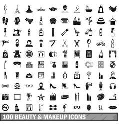 100 beauty and makeup icons set in simple style vector
