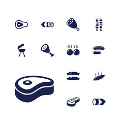 13 barbecue icons vector