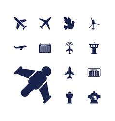13 flight icons vector