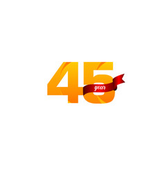 45 years anniversary celebration yellow with red vector
