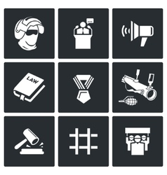 Armed revolution icons vector