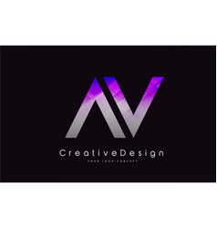 Av letter logo design purple texture creative vector