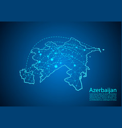 Azerbaijan map with nodes linked by lines concept vector