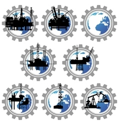 Badges with drilling rigs and oil pumps-1 vector