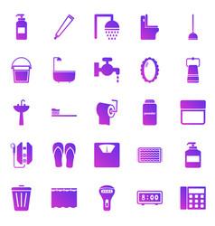 bathroom gradient icons on white background vector image