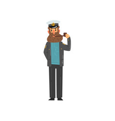 bearded captain smoking tobacco pipe seaman vector image