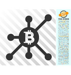 Bitcoin full node flat icon with bonus vector