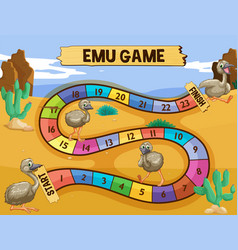 Boardgame template with emu in the field vector