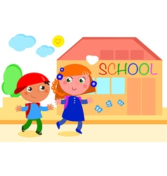 Boy and girl going to school vector