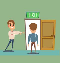Businessman invite men to opened door vector