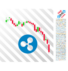 candlestick chart ripple fall flat icon with bonus vector image