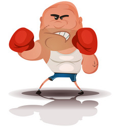 Cartoon angry boxer champion vector