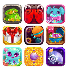Cartoon app icons for game or web design vector