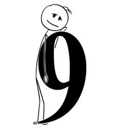 Cartoon of man or businessman holding big number vector
