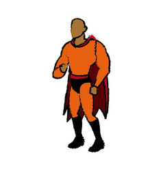 Cartoon superhero wearing suit standing heroic vector