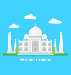 Cartoon taj mahal symbol of india background vector