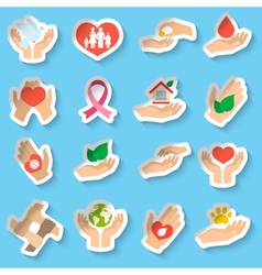 Charity and donation stickers vector