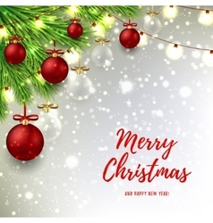 Christmas background with red and glass balls vector image vector image