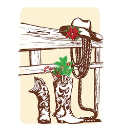 Christmas cowboy elements for holiday vector