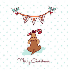 Christmas cute puppy dog cartoon greeting card vector