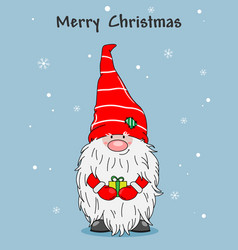 Christmas greeting card cute gnome with gift vector