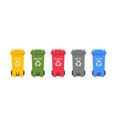 Colorful recycling bins vector