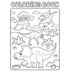coloring book dinosaur composition image 2 vector image