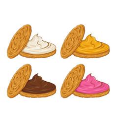 Cookies sandwich with various cream flavor vector
