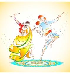 Couple playing Dandiya vector image
