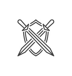 Crossed swords with shield icon in thin vector