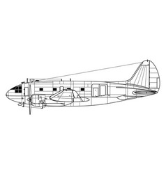 curtiss-wright c-46 commando vector image
