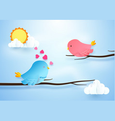 cute bird couple on branches love concept paper vector image