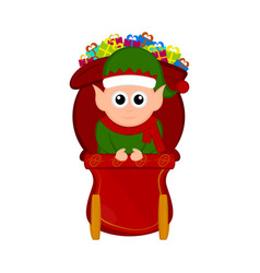 cute elf on a christmas sledge vector image