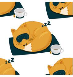 Cute sleeping fox seamless pattern brush vector