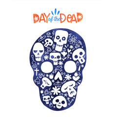 Day dead sugar skull mexico decoration card vector