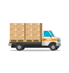 delivery truck isolated with parcel cargo boxes vector image